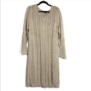 The Limited Tan Cable Knit Chunky Sweater Dress